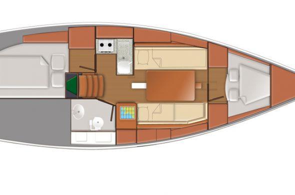 Plan Jeanneau Odyssey 319 - Ottenhome Heeg